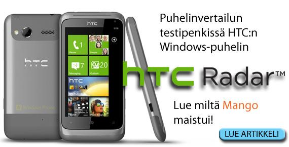 Puhelinvertailun testissä HTC Radar Windows-puhelin