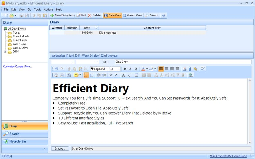 Windows10up.com Download Free Efficient Diary (portable) v3 60 Build 352