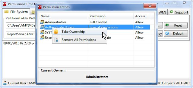 permissions time machine