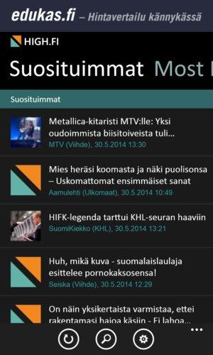 High.fi mobiilisovellus, tumma listaus