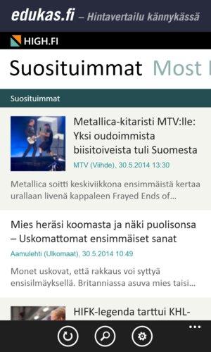 High.fi mobiilisovellus, väljä listaus