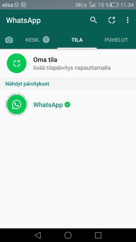 WhatsApp Oma tila