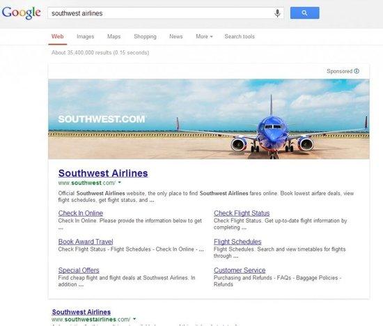 Southwest Airlinesin banneri Googlen hakutuloksissa