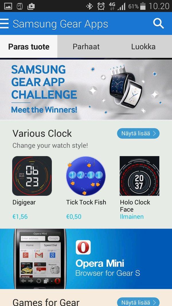 Testissä Samsung Gear S
