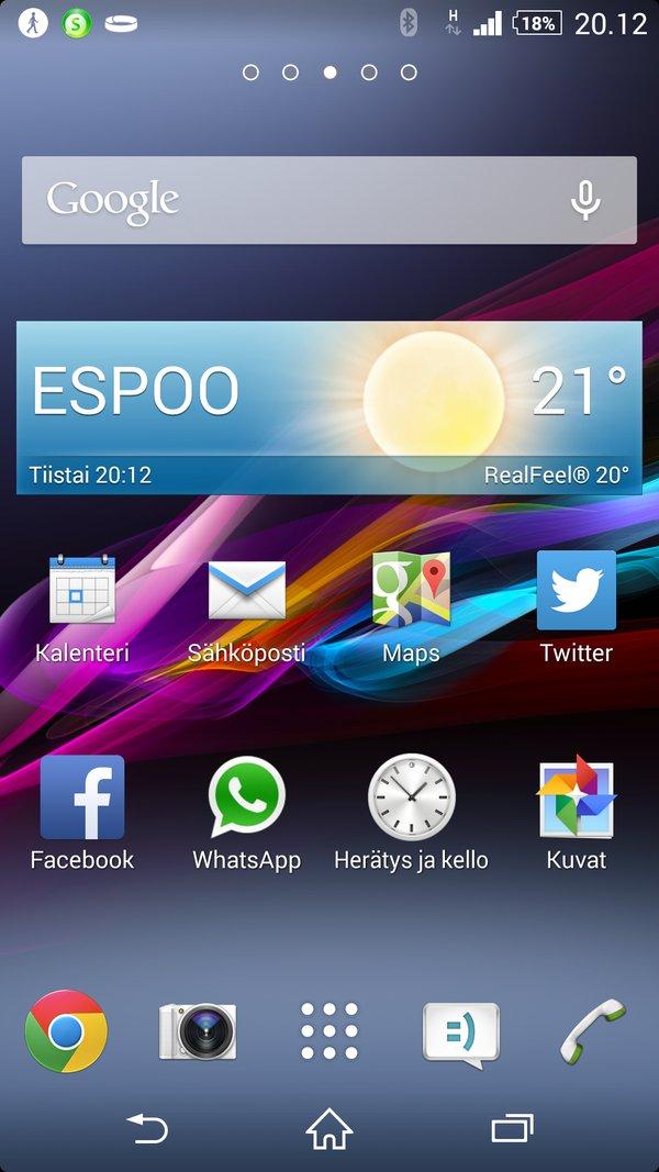 Sony Xperia Z2 arvostelu kotinäyttö