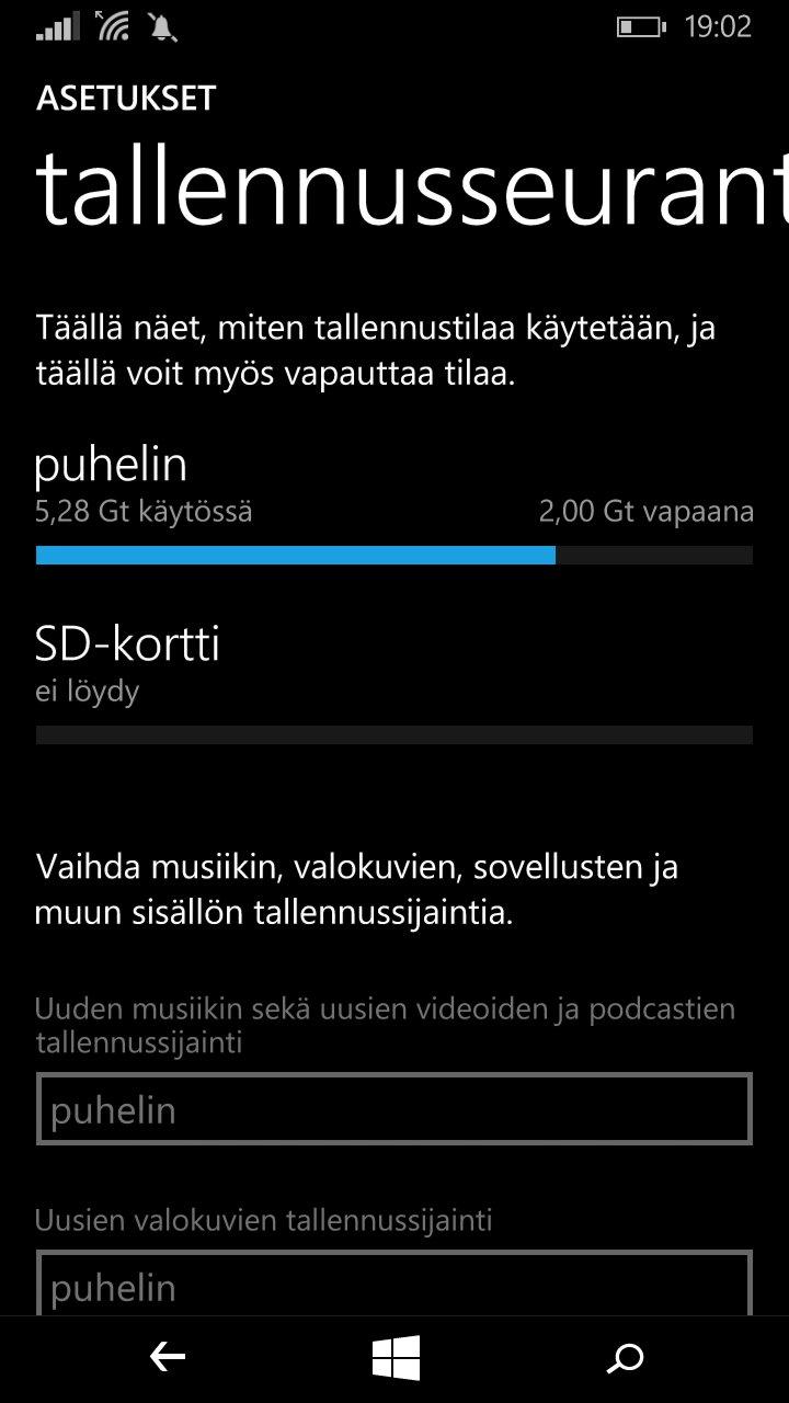 Lumia 640 käyttöliittymä