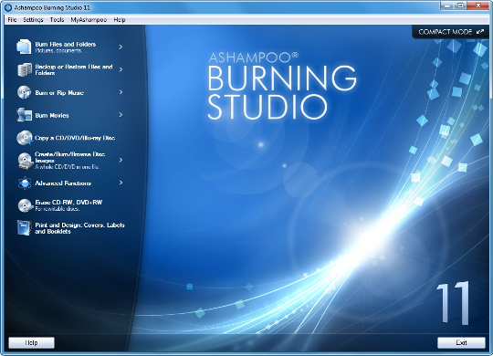 Ashampoo Burning Studio 11 main screen