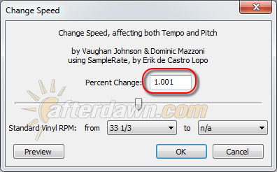 Audacity Change Speed dialog - AfterDawn.com