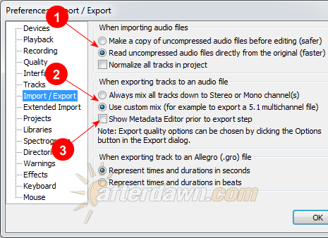 Audacity Import/Export Preferences - AfterDawn.com
