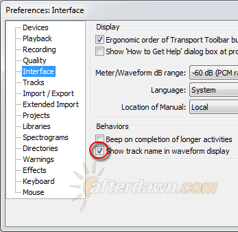 Audacity Interface Preferences - AfterDawn.com