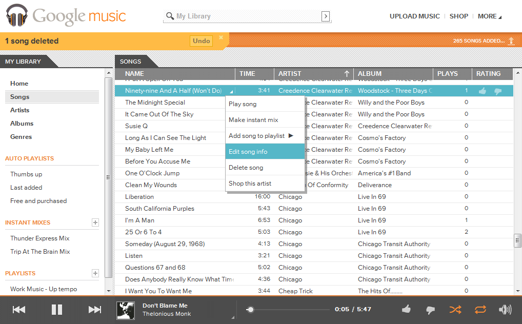 how to delete music from google music library