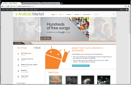 Google Music Store Main Page
