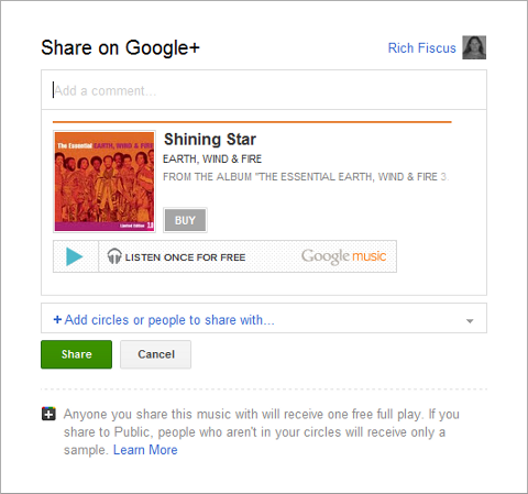 Google Music - Share on Google+