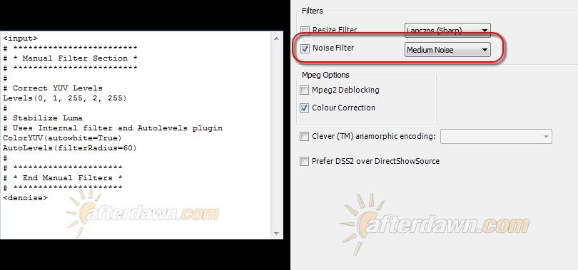 MeGUI AVS Script Creator Source Camera and Lighting profile - AfterDawn.com