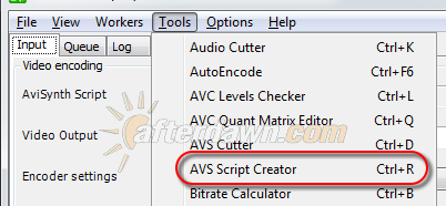 Opening the MeGUI AVS Script Creator - AfterDawn.com