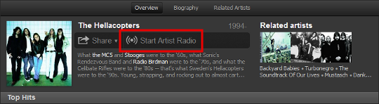 Spotify Start Artist Radio button
