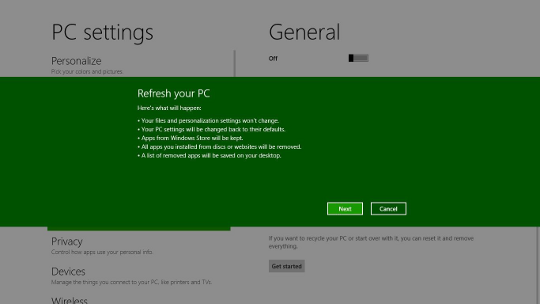 Windows 8 Refresh interface - AfterDawn.com