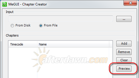 Open preview window in MeGUI's Chapter Creator - AfterDawn.com