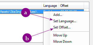 The popup menu in EasyBD where you select the language and delay for an audio stream - AfterDawn.com